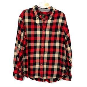 Eddie Bauer Red Black White Flannel Shirt Size XXL